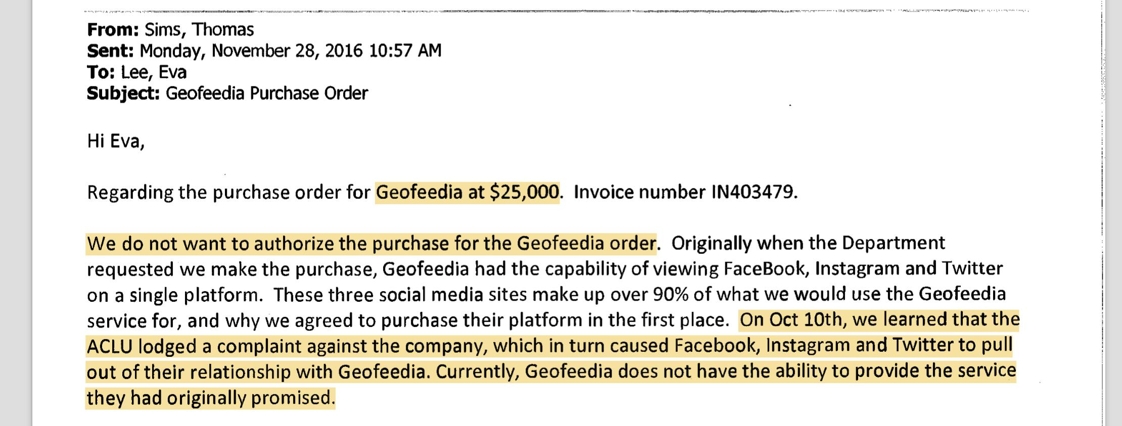 Excerpt of email from San Jose Police Lt. Thomas Sims explaining why they have decided not to renew their $25,000 annual subscription to the Geofeedia social media surveillance service.